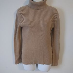 Tommy Hilfiger Tan Cotton Turtleneck Sweater
